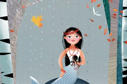 Milla Mermaid on a lake in the fall